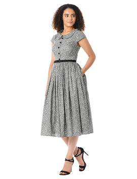 Peter Pan Collar Ditsy Floral Print Cotton Belted Dress by Eshakti