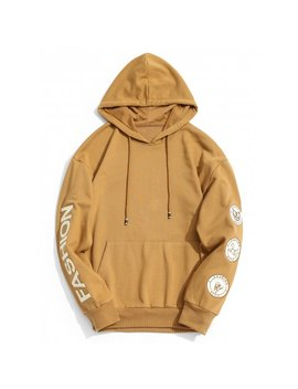 Fashion Graphic Patch Hoodie   Khaki S by Rosewholesale