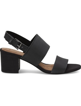 Black Leather Women's Poppy Sandals by Toms