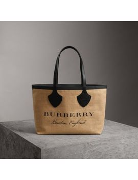 The Medium Giant Tote In Graphic Print Jute by Burberry