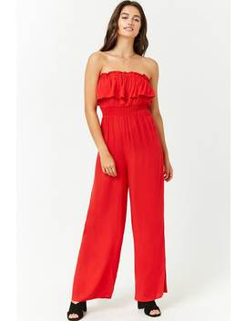 strapless-flounce-jumpsuit by forever-21