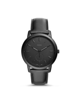 The Minimalist Two Hand Black Leather Watch by Fossil