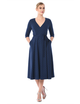 Polka Dot Cotton Knit Wrap Dress by Eshakti