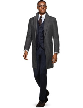 Jort Grey Overcoat by Suitsupply