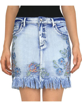 Tractr Blu Women's Indigo Frayed Hem Embroidered Skirt by Tractr