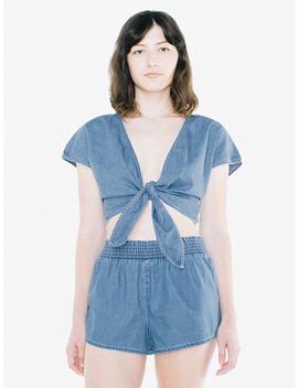 denim-wrap-top by american-apparel