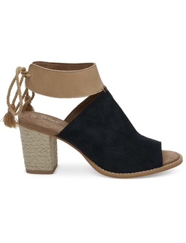 Black Suede Leather Women's Seville Sandals by Toms