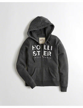 Logo Graphic Full Zip Hoodie by Hollister