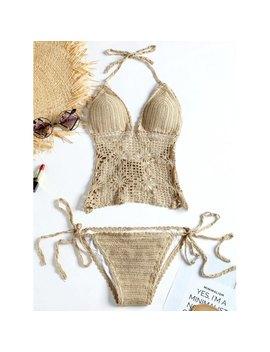 Crochet Knit String Bikini Set   Khaki L by Rosewholesale