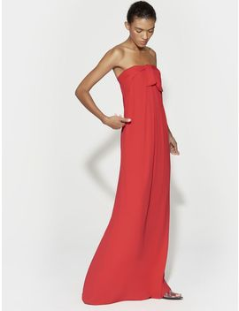 Strapless Tie Front Gown by Halston
