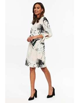 Monochrome Palm Print Tie Sleeve Shift Dress by Wallis
