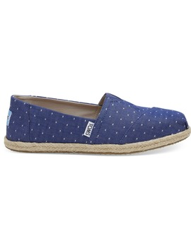 Imperial Blue Dot Chambray Women's Espadrilles by Toms