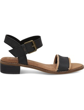 Black Leather Women's Camilia Sandals by Toms
