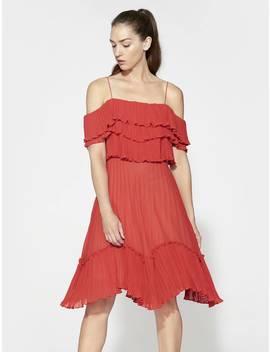 Ruffle Tie Back Dress by Halston