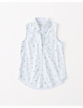 Sleeveless Button Up Shirt by Abercrombie & Fitch