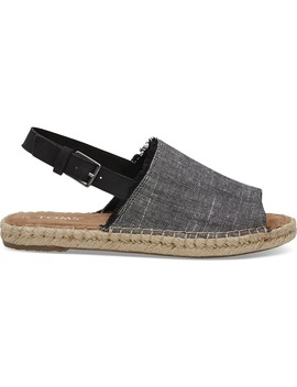 Black Textured Chambray Women's Clara Espadrilles by Toms