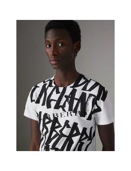 Graffiti Print Cotton T Shirt by Burberry