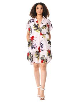 Floral Print Crepe Shift Shirtdress by Eshakti