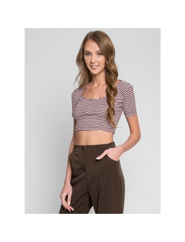 Best Of Me Stripe Crop Henley by Wet Seal