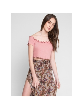 Sunset Merrow Edge Off Shoulder Top In Light Pink by Wet Seal