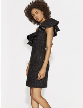 Flounce One Shoulder Metallic Knit Dress by Halston