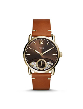 The Commuter Twist Tan Leather Watch by Fossil