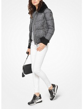 Fur Trimmed Tweed Print Jacket by Michael Michael Kors