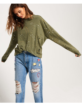 Edgy Nibbled Crew Sweatshirt by Superdry