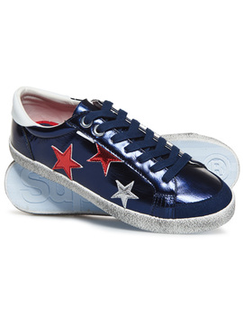 Super Sleek Logo Lo Top Trainers by Superdry
