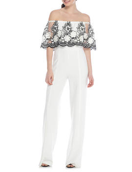Off The Shoulder Embroidered Jumpsuit by Spense