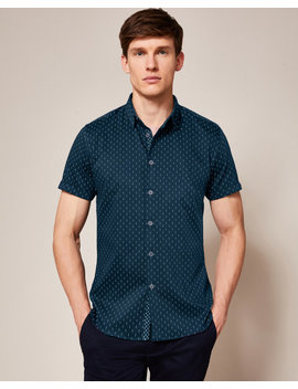 Printed Textured Cotton Shirt by Ted Baker