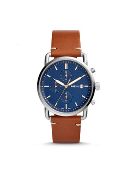 The Commuter Chronograph Light Brown Leather Watch by Fossil