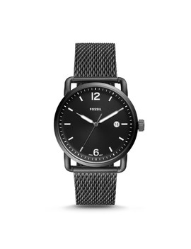 The Commuter Three Hand Date Smoke Stainless Steel Watch by Fossil