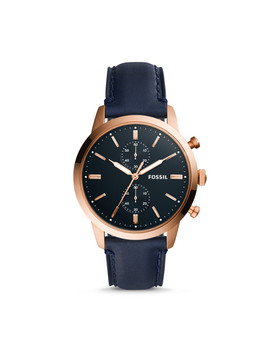 Townsman 44mm Chronograph Navy Leather Watch by Fossil