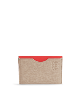 Simple Card Holder In Sand And Red Soft Grained Calf And Boxcalf by Monnier Frères