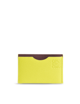 Simple Card Holder In Yellow Lemon And Burgundy Soft Grained Calfskin And Boxcalf by Monnier Frères