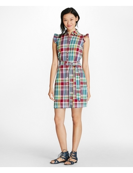 Madras Cotton Seersucker Shirt Dress by Brooks Brothers
