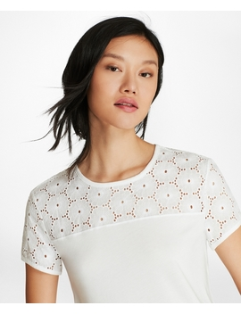 Eyelet Yoke T Shirt by Brooks Brothers