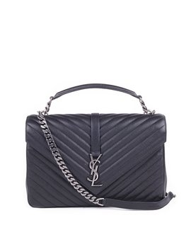 College Chevron Shoulder Bag   Black by Saint Laurent