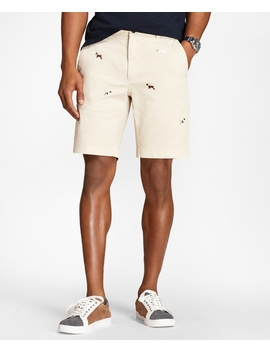 Embroidered Dog Cotton Twill Shorts by Brooks Brothers