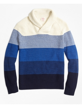 Color Block Cotton Shaker Shawl Collar Sweater by Brooks Brothers