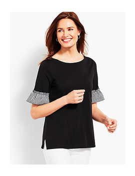 Gingham Sleeve Top by Talbots