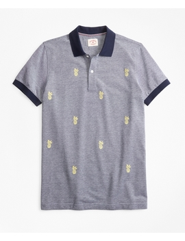 Embroidered Pineapple Cotton Pique Polo Shirt by Brooks Brothers