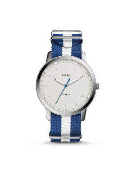 The Minimalist Three Hand Navy And White Polyester Watch by Fossil