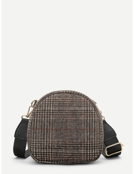 Tweed Dome Bag With Adjustable Strap by Sheinside