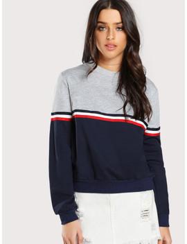 Striped Woven Tape Detail Two Tone Sweatshirt by Shein