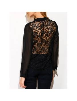 See Through Lace Back Spliced Blouse by Dress Lily
