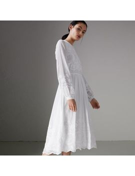 Embroidered Cotton Silk Voile Dress by Burberry