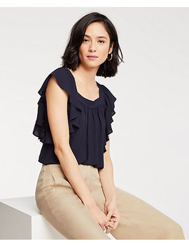 Flutter Square Neck Top by Ann Taylor