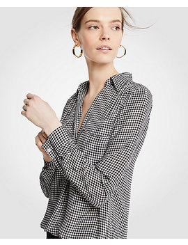Poppy Gingham Camp Shirt by Ann Taylor